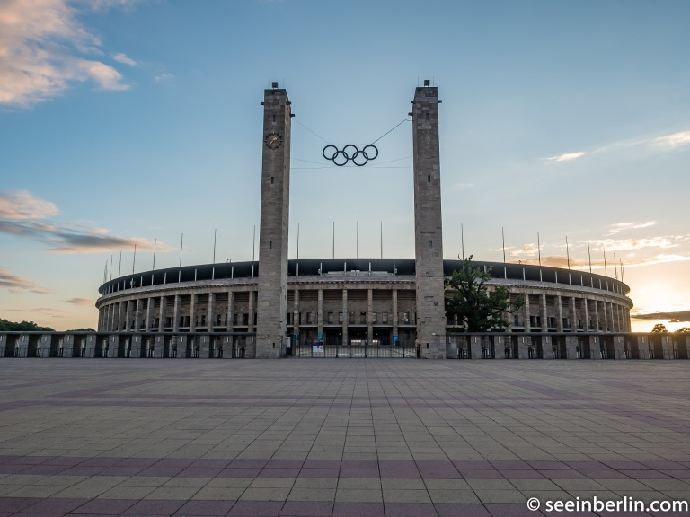 Olympic Stadium in Berlin during sunset